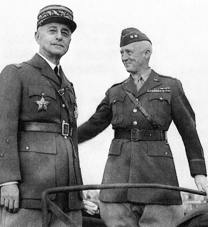 General Auguste Paul Nogues (left), the French resident-general of Morocco, and Major General George S. Patton, Jr.