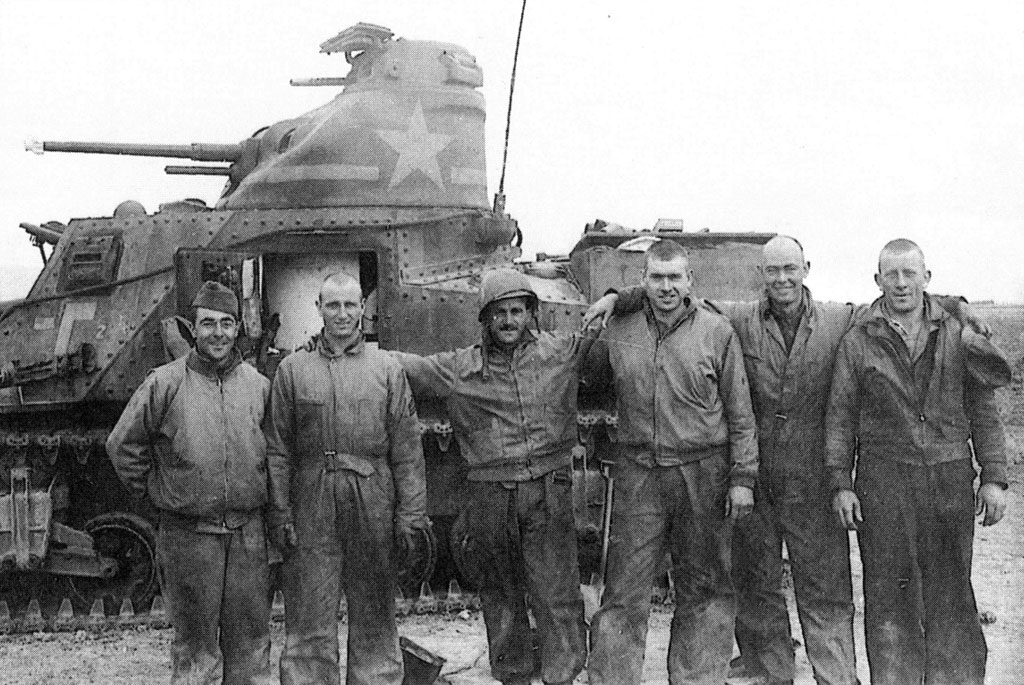 An American tank crew from the 2nd Battalion of the 1st Armored Regiment, in Tunisia, February 1943.
