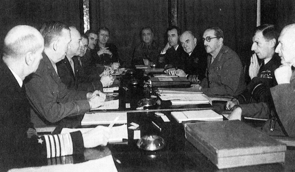 The Anglo-American combined chiefs of staff in the Anfa Hotel conference room outside Casablanca, January 1943.