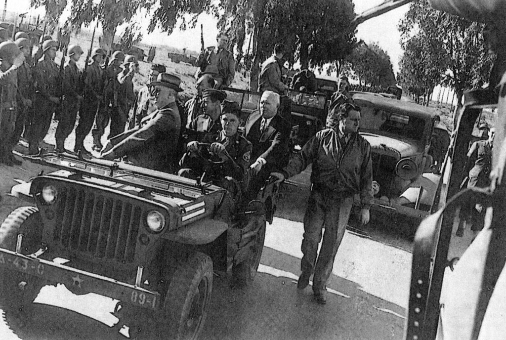 President Roosevelt inspects U.S. troops during the Casablanca Conference, January 21, 1943.