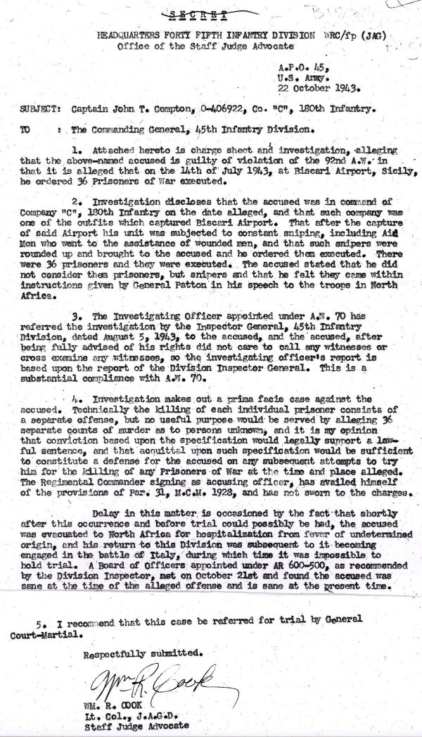 An Oct. 1943 memorandum from an Army prosecutor to Maj. Gen. Troy Middleton, commander of the 45th Infantry Division
