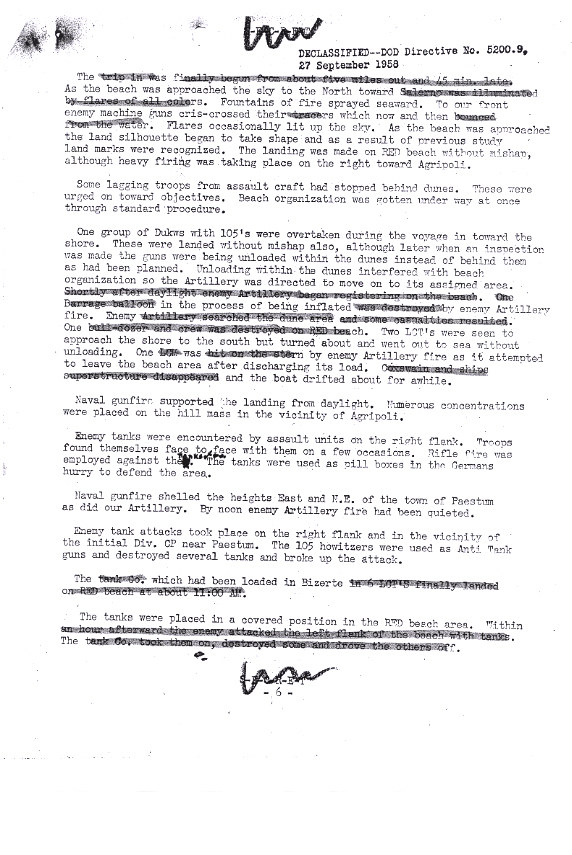 An Oct. 1943 memo by Brig. Gen. John W. O'Daniel, who later commanded the 3rd Infantry Division at Anzio, about the role of the 36th Infantry Division in the amphibious assault at Salerno.