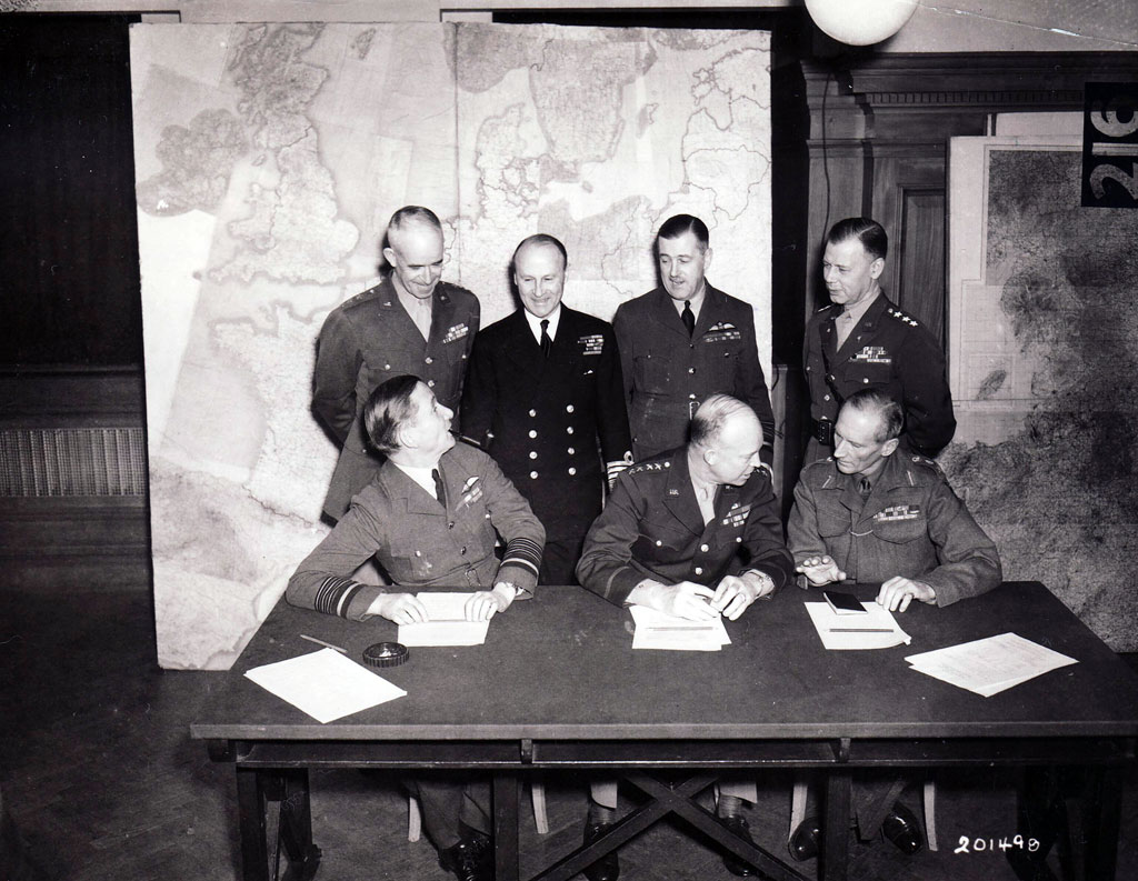 The Allied military high command for Operation OVERLORD, during a meeting in London.