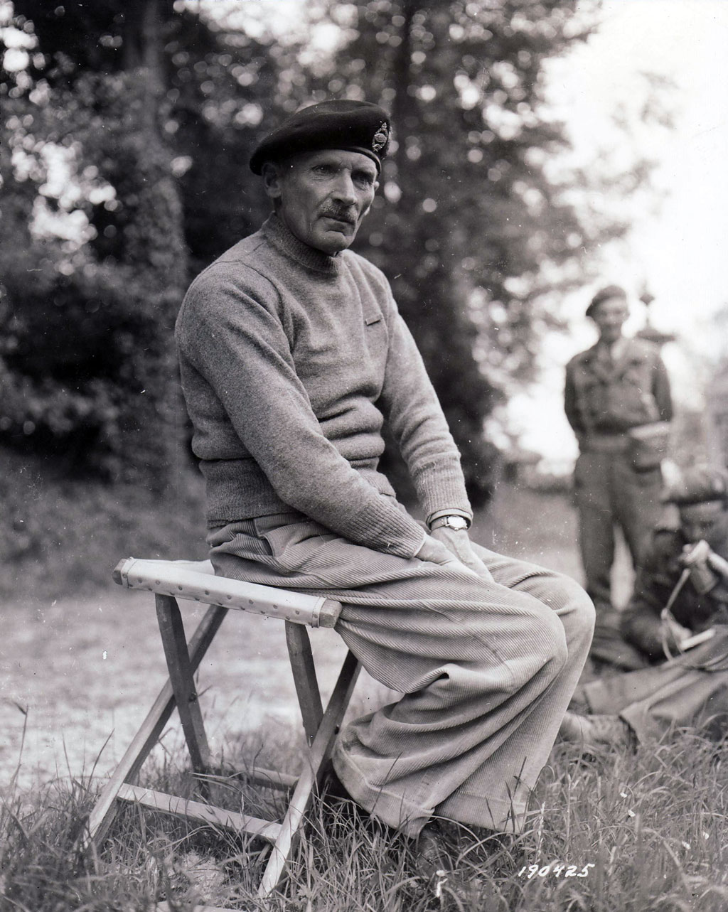 "Montgomery, commander of Allied ground forces in Normandy, confers with war correspondents on June 15. Eisenhower considered him ""a good man to serve under, a difficult man to serve with, and an impossible man to serve over."""