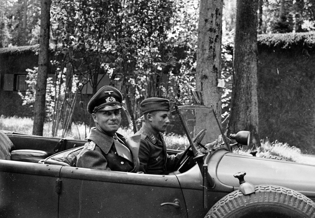 Field Marshal Erwin Rommel, commander of Army Group B in France, seen in a 1940 photo that foreshadows his subsequent wounding four years later during a strafing attack by Allied fighter planes.