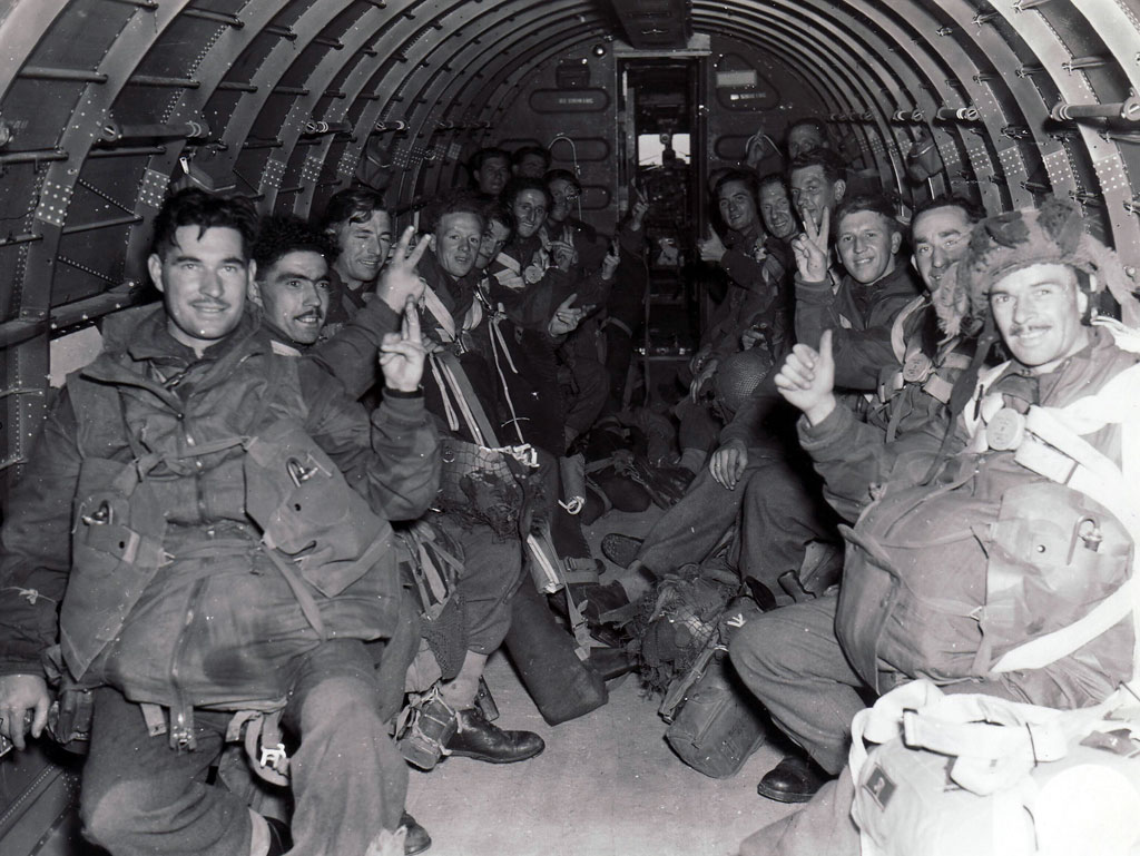 British paratroopers in a C-47 transport plane, bound for Holland in Operation MARKET GARDEN.