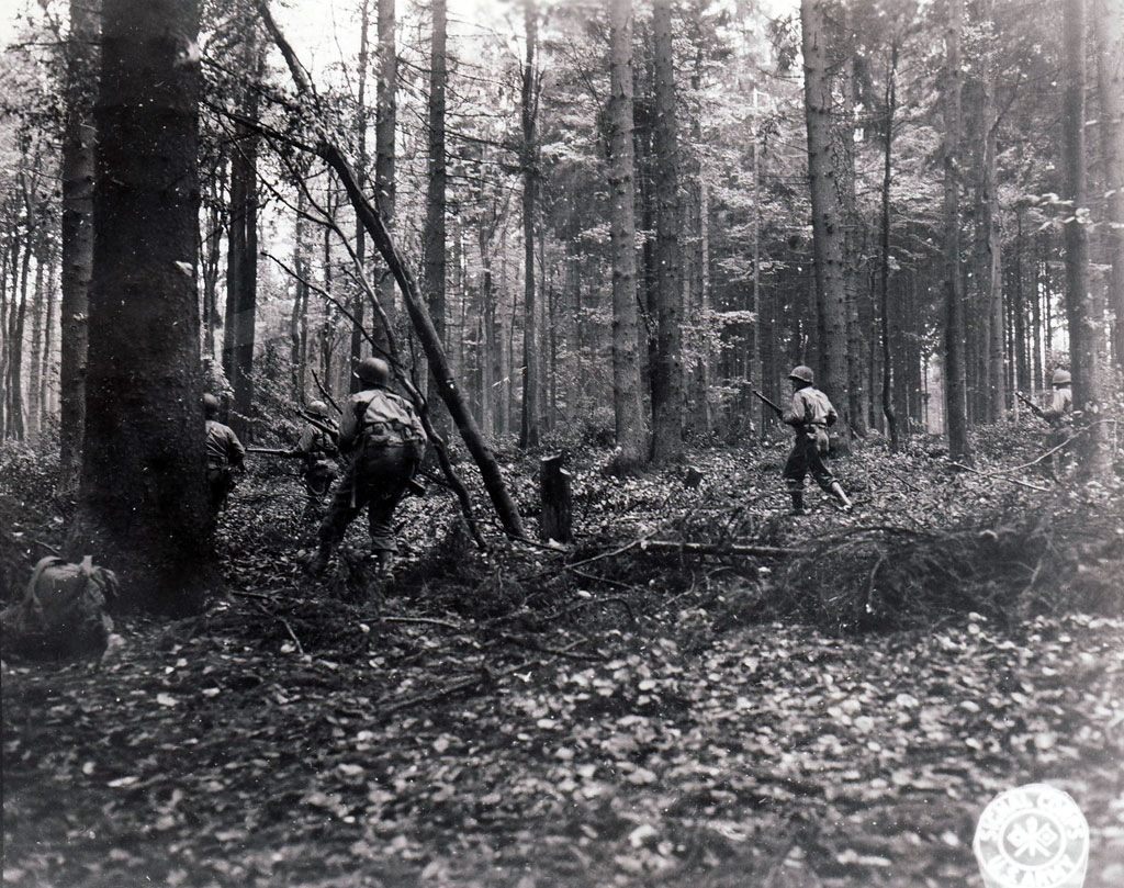 Riflemen from the 110th Infantry of the 28th Division creep through the Huertgen Forest near Vossenack in early November.