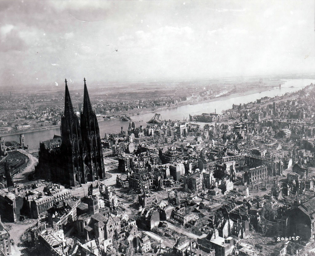 Although the Rhine bridges and thousands of buildings were destroyed, the great cathedral survived.